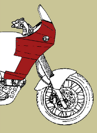 Line diagram of Cagiva motorcycle fairing